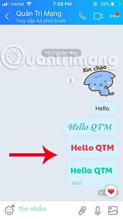 Đây là dòng tin nhắn đổi font chữ Zalo khi chat trên iPhone