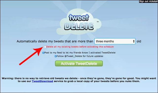 Giao diện rất đơn giản của TweetDelete