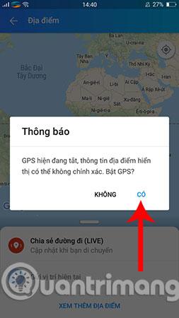 Bật GPS