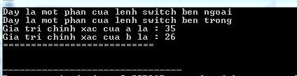Lồng các lệnh switch trong C