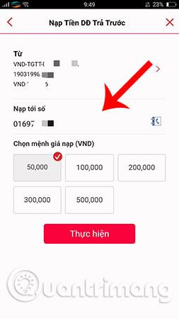 Hướng dẫn nạp tiền điện thoại bằng thẻ Techcombank