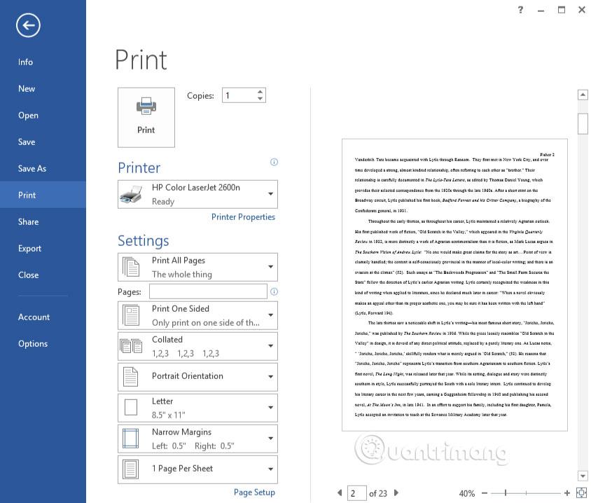 1. Sử dụng Print Preview