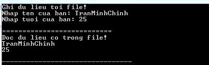 Kết quả sau khi đọc và Ghi file trong C++
