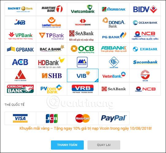 Chọn ngân hàng thanh toán