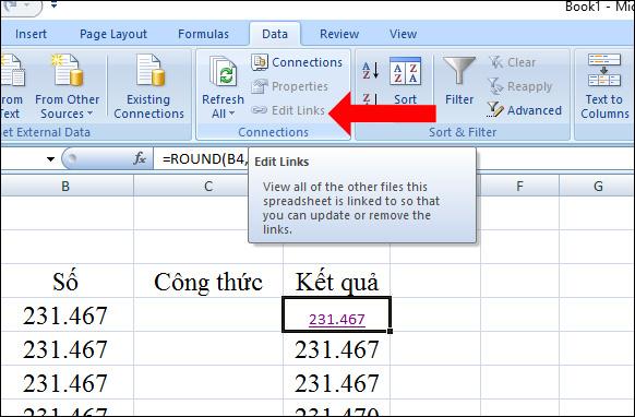 Nhấn tab Data