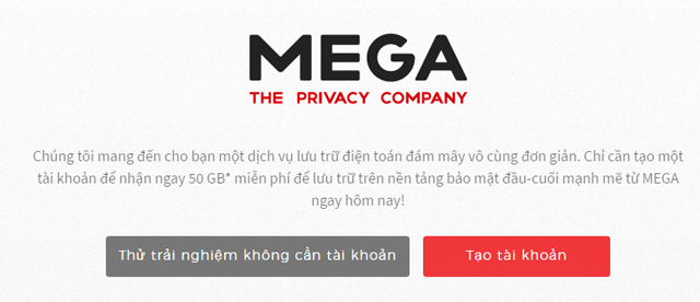 Dịch vụ lưu trữ Mega
