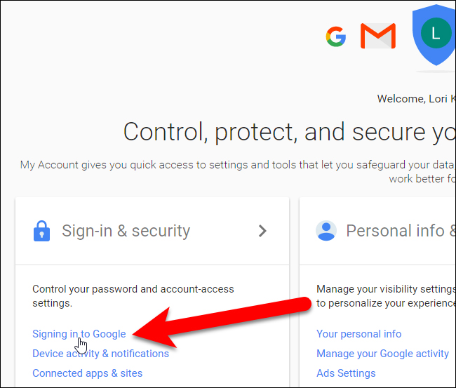 Click vào Signing in to Google