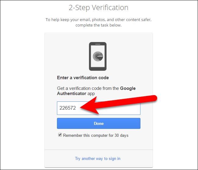 Nhập mã xác minh trên màn hình 2-Step Verification