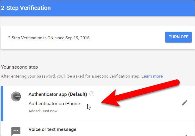 Ứng dụng Authenticator được thêm vào danh sách bước xác minh thứ hai