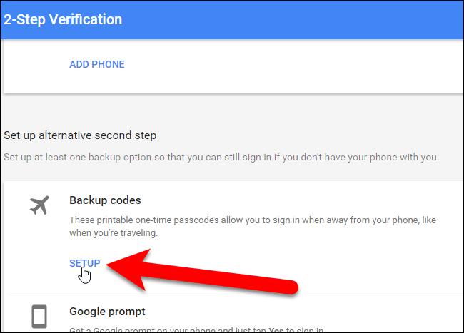 Click Setup trong Backup codes