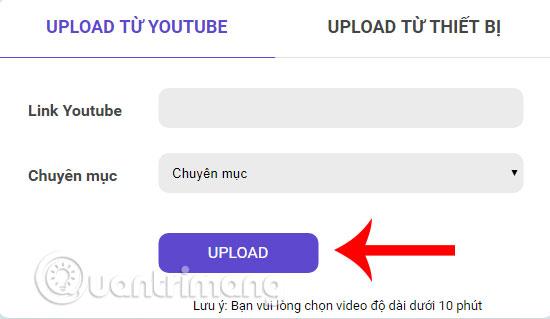 Upload link từ Youtube