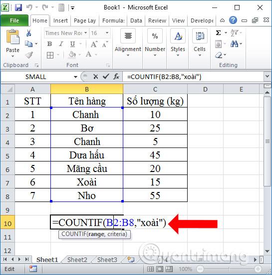 Cách dùng hàm đếm có điều kiện COUNTIF trên Excel - Ảnh minh hoạ 2