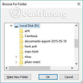 Chọn thư mục lưu file