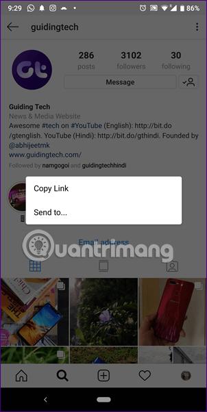 Chọn Send to hoặc Copy Link
