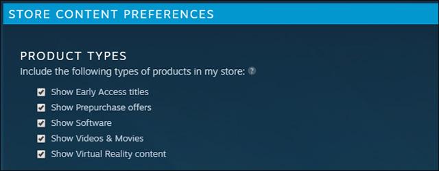 Steam cũng cho phép bạn lọc tối đa mười thẻ