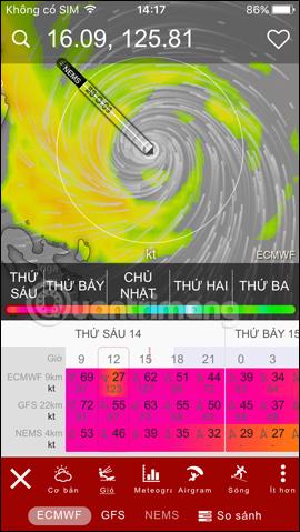 Xem sức gió của bão