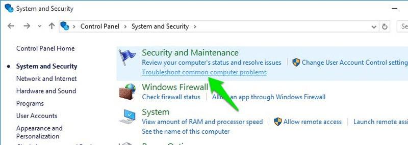 Chọn tùy chọn Troubleshoot common computer problems