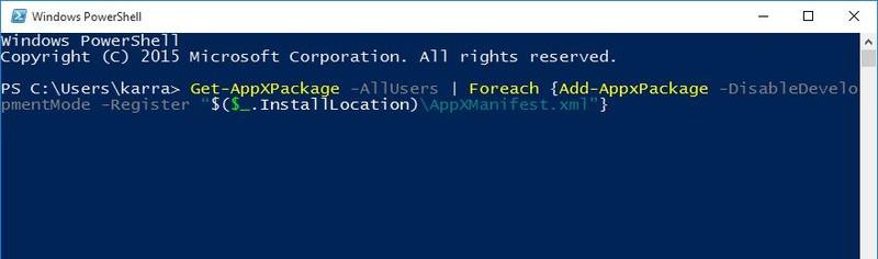 Đăng ký lại ứng dụng Windows