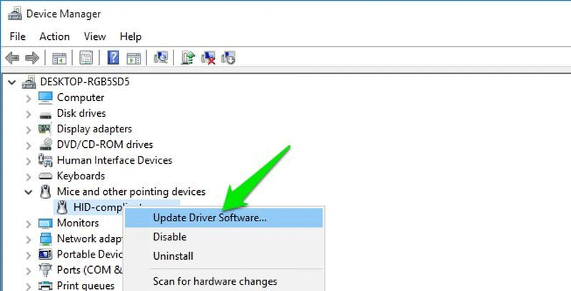 Click vào Update Driver Software
