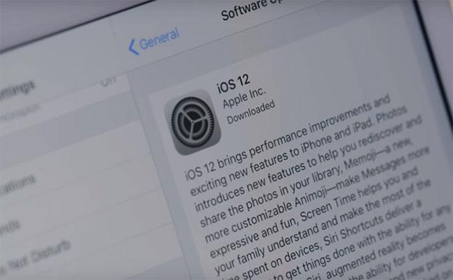 Cập nhật iOS 12 thất bại