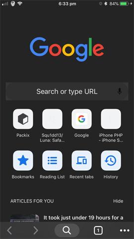 Giao diện nền tối Google