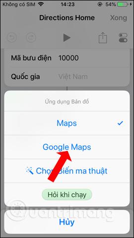 Chọn ứng dụng bản đồ