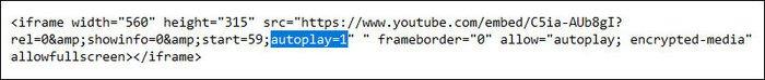 Thêm biến autoplay=1 vào cuối URL