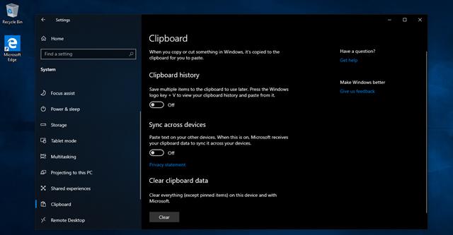 Clipboard được trang bị khả năng đồng bộ bản ghi với các thiết bị có dùng chung tài khoản Microsoft