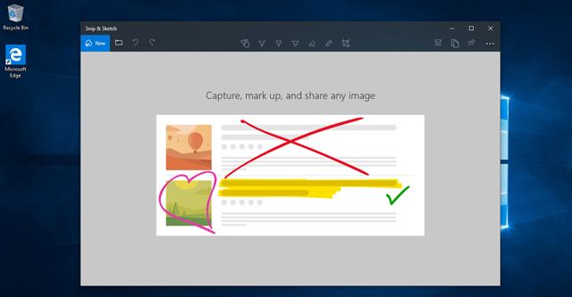Snip & Sketch có thể hỗ trợ bút cảm ứng cho phép người dùng nhấn vào nút phía sau của bút cảm ứng để chụp ảnh
