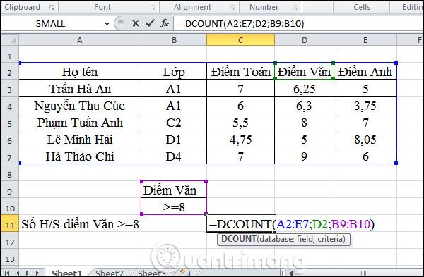 Cách dùng hàm DCOUNT trên Excel - Ảnh minh hoạ 2