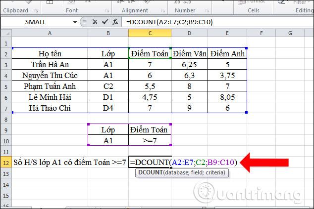 Cách dùng hàm DCOUNT trên Excel - Ảnh minh hoạ 4