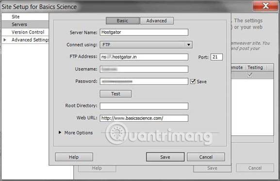 Thêm trang web vào Dreamweaver CS6