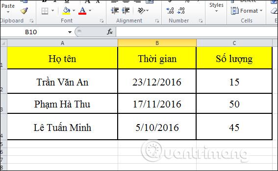 Nội dung Word trên Excel