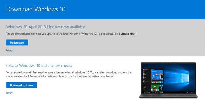 Thông tin trên trang download của Windows 10 đã thay đổi