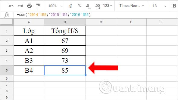 Cách tính tổng trên nhiều sheet Google Sheets - Ảnh minh hoạ 4