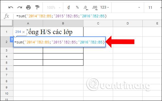 Cách tính tổng trên nhiều sheet Google Sheets - Ảnh minh hoạ 5