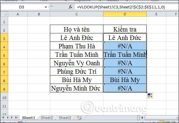 Cách lọc dữ liệu trùng nhau trên 2 sheet Excel - Ảnh minh hoạ 10