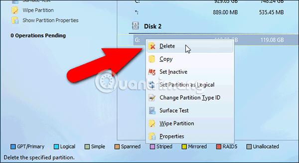 Xóa phân cùng trên thẻ SD hiện tại