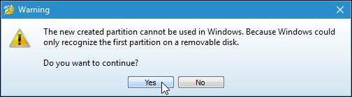 Nhấn Yes để bỏ qua
