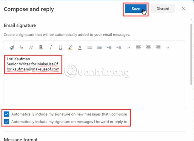 Bước 5: Thêm chữ ký email Office 365