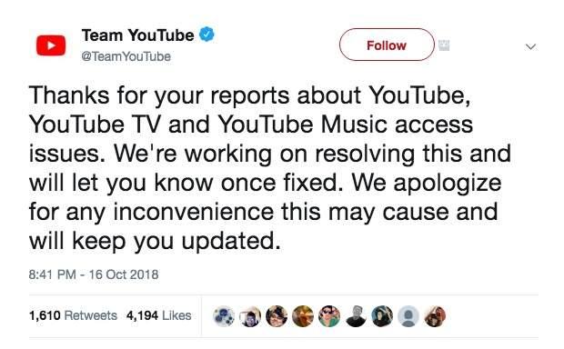 Thông báo đang khắc phục sự cố của YouTube