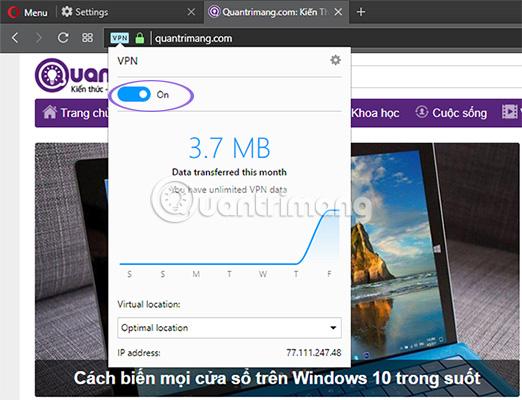 Cách sử dụng VPN trên trình duyệt Opera