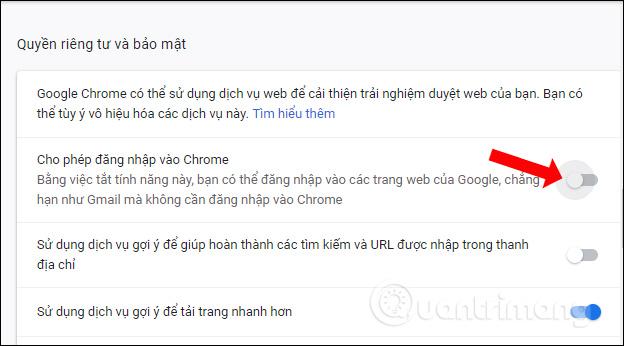Tắt cho phép đăng nhập Chrome