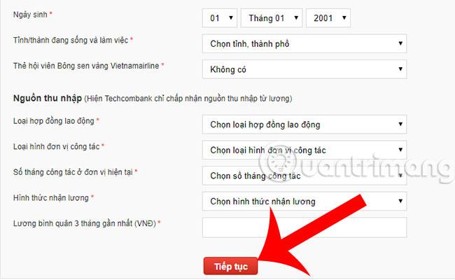 Cách làm thẻ Techcombank Online