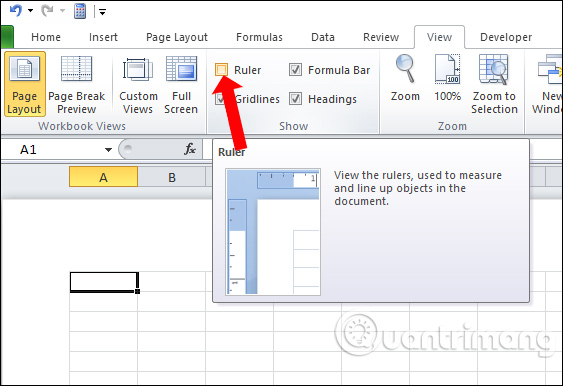 Cách hiển thị thanh Ruler trong Excel - Ảnh minh hoạ 2