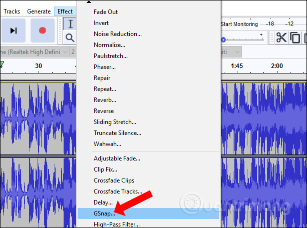 how to add gsnap to audacity