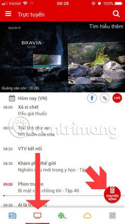 GIao diện chuyển kênh VTV Go