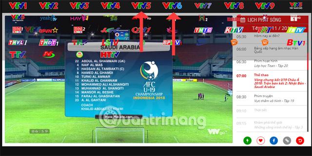 Danh sách kênh VTV Go