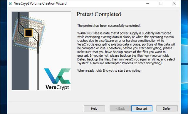 Nhấp vào nút Encrypt