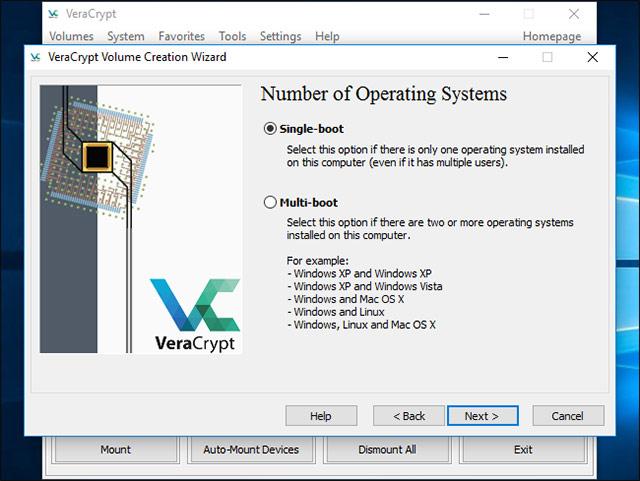 VeraCrypt sẽ hỏi bạn rằng có bao nhiêu hệ điều hành đang chạy trên máy tính của bạn